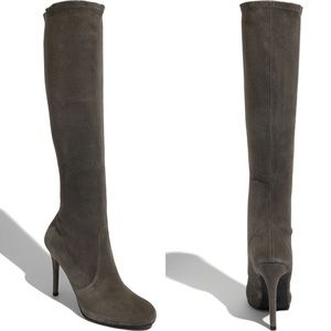 Stuart Weitzman Spectacle Stretch Suede Gray Boots